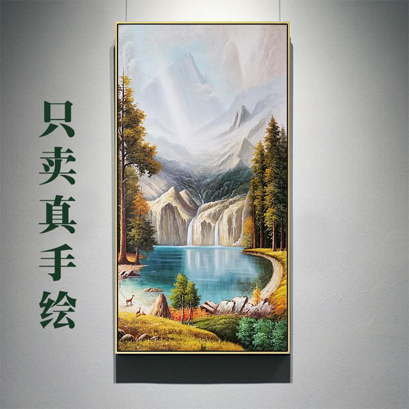 欧式手绘过道山水风景画竖版鹿油画