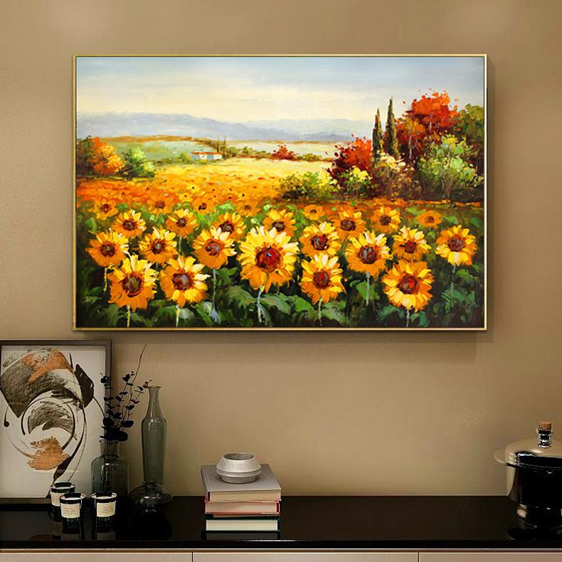 客廳裝飾畫向日葵玄關掛畫輕奢現代純手繪油畫印象厚油花田風景畫