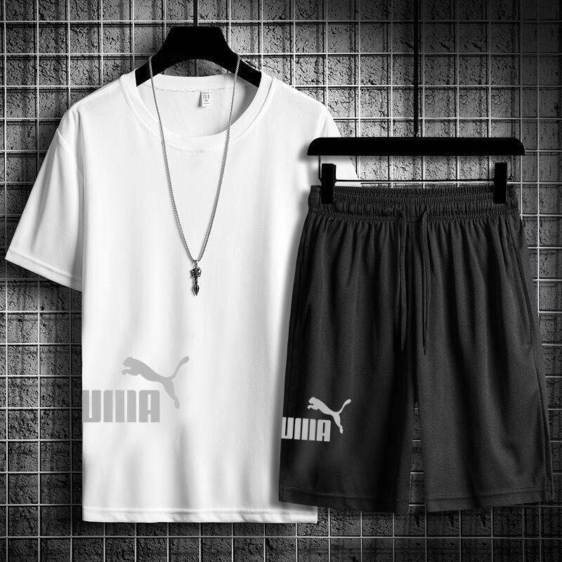 2020夏季夏季男士短袖T恤休闲运动套装短裤两件套跑步健身速干服