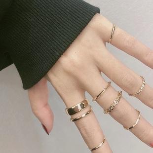 (7件套)戒指女ins潮时尚个性食指小指尾戒冷淡风小众不掉色饰品品牌
