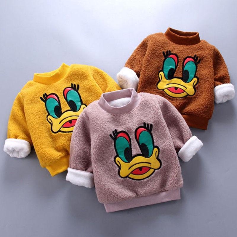 2019新款泰迪绒男童女童加绒加厚卫衣0-6岁宝宝高领冬装儿童装-潮