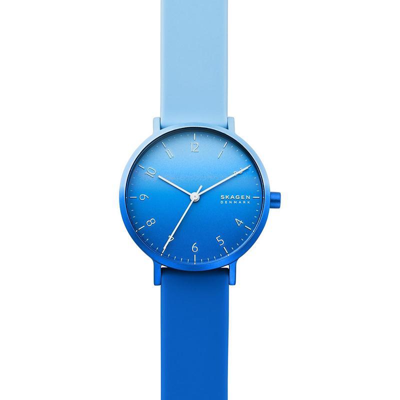 Genuine Skagen aaren kulor womens blue silicone strap watch