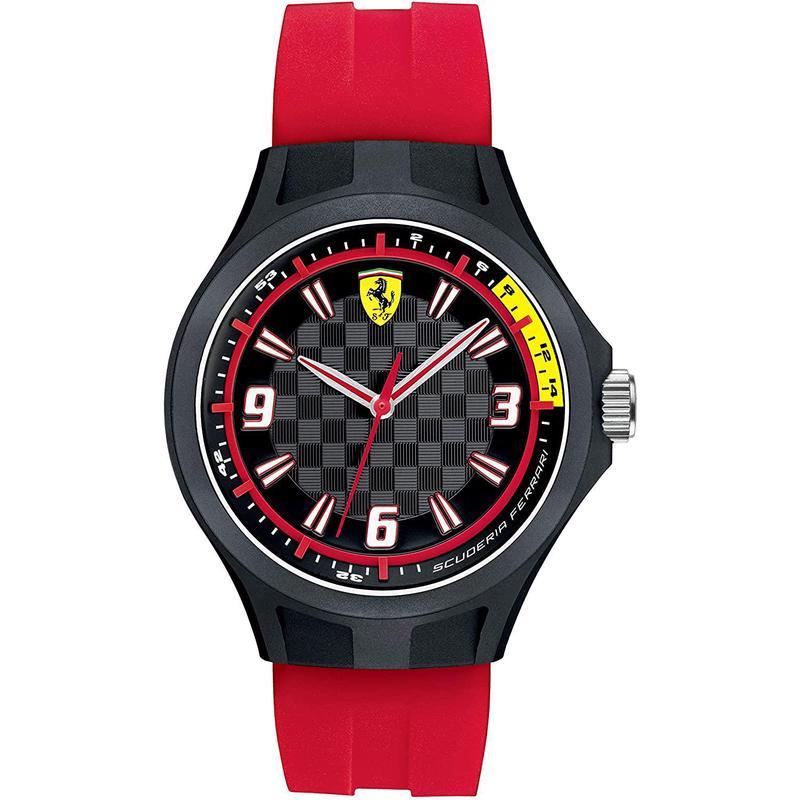 海外购正品 FERRARI 法拉利男表经典英伦休闲红色硅胶表带手表