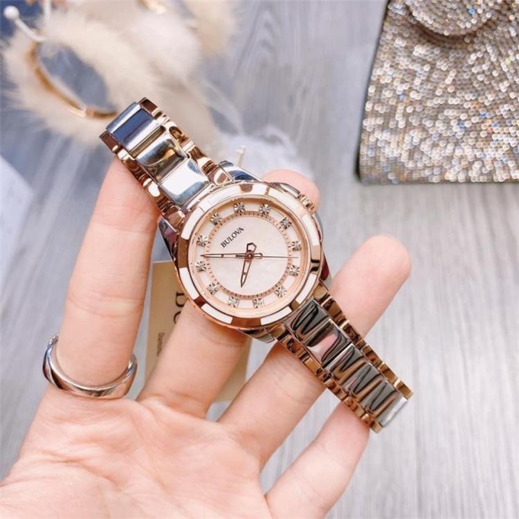 Genuine baoluhua / Bulova Watch fashion simple diamond stainless steel quartz womens watch 98p134