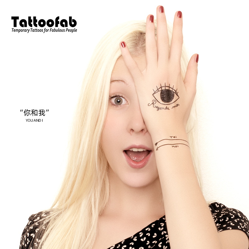 [you and me] tatoofab childrens waterproof Tattoo Sticker for girls