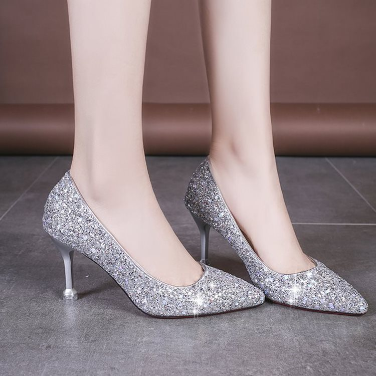 32 33 small sequins high heels shiny pointy evening dress bridesmaid Shoes Sexy banquet 6-8cm Princess