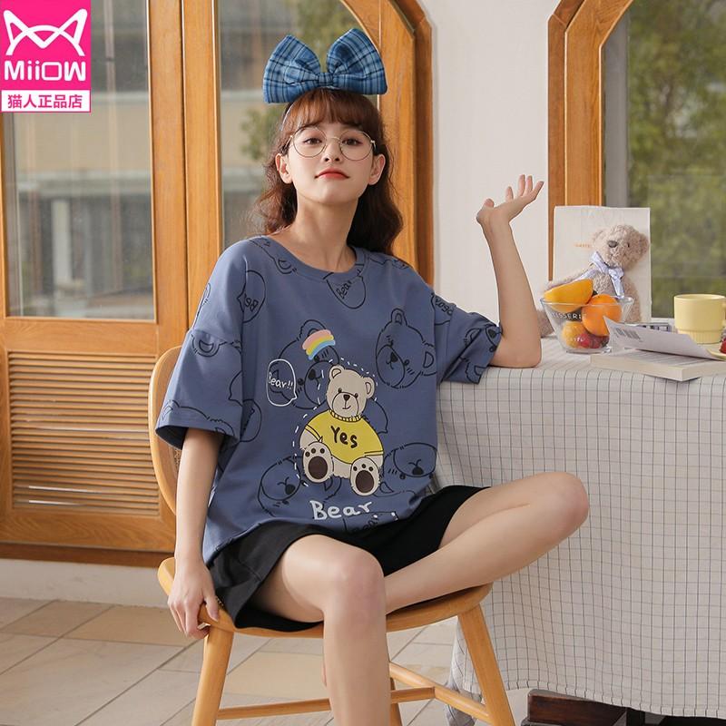 【猫人】纯棉薄款夏季睡衣两件套装-时时淘