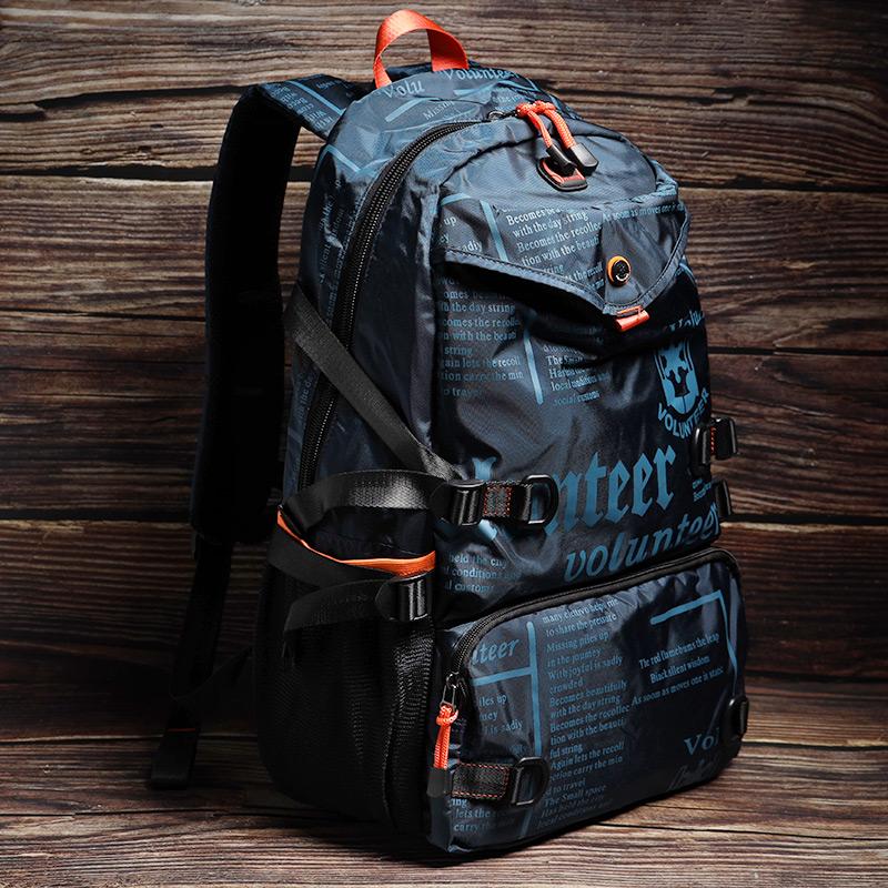 时尚男士双肩包2021新款潮牌电脑背包大容量帆布旅行包高中生书包