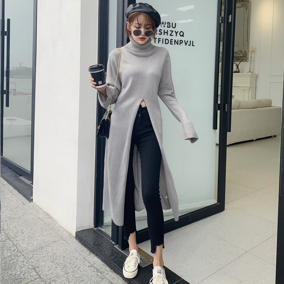 Grey early autumn personality front split high neck sweater womens knee length knitted dress loose fake windbreaker