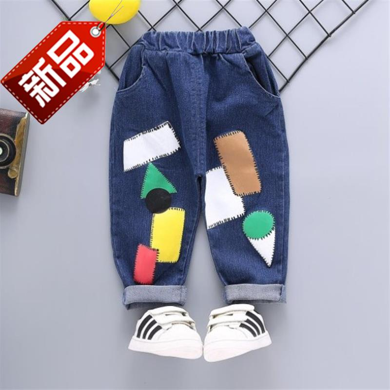 Casual spring one year old boy boy boys early autumn pants autumn U4 fashionable childrens jeans