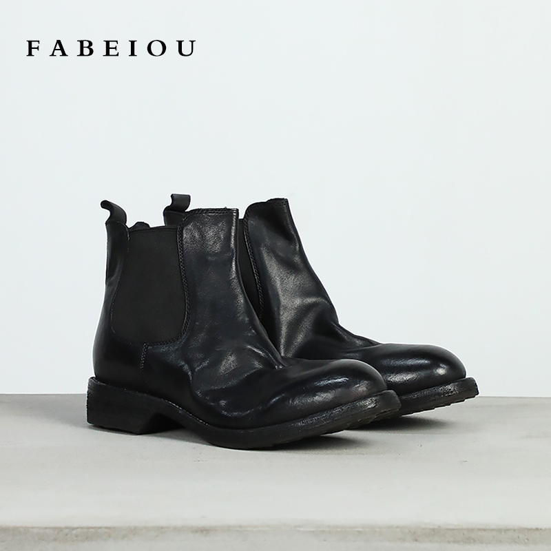 Washed horse skin Chelsea boots handmade shoes Goodyear craft Vintage British style short tube boots womens Martin boots