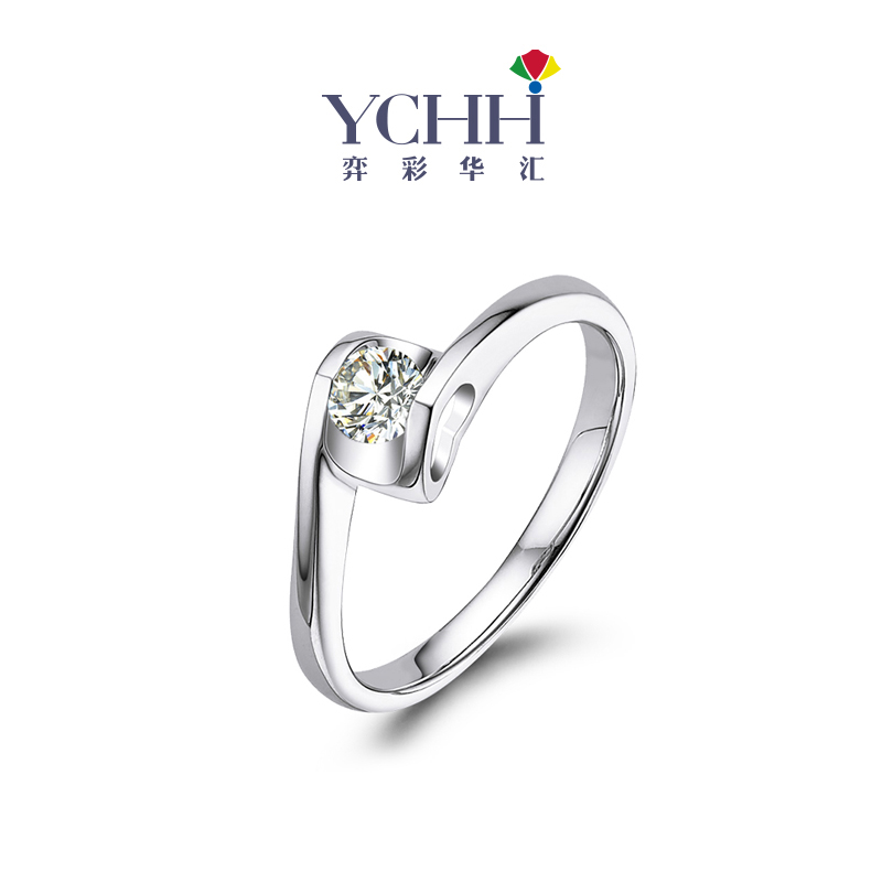 Ychh jewelry Valentines Day 18K Gold Diamond Ring proposal ring for girlfriend