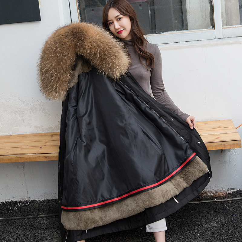 2020 winter new raccoon dog collar Rex Rabbit Fur inner courage style overcome womens middle and long style style overcome coat fur coat