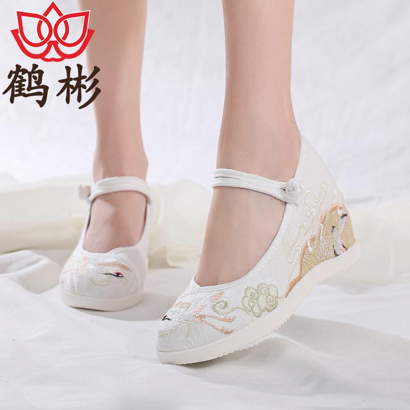 鹤彬老北京布鞋女古装汉服古风内增高跟民族风舞蹈厚底坡跟绣花鞋