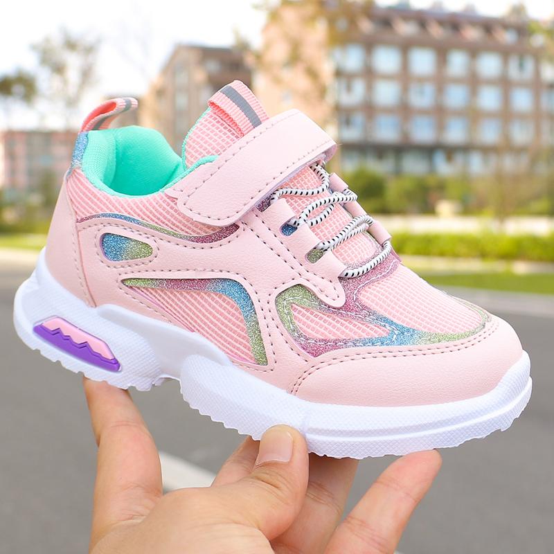 女童运动鞋新款爱心网面透气跑步鞋学生童鞋运动鞋子儿童春秋单鞋(非品牌)