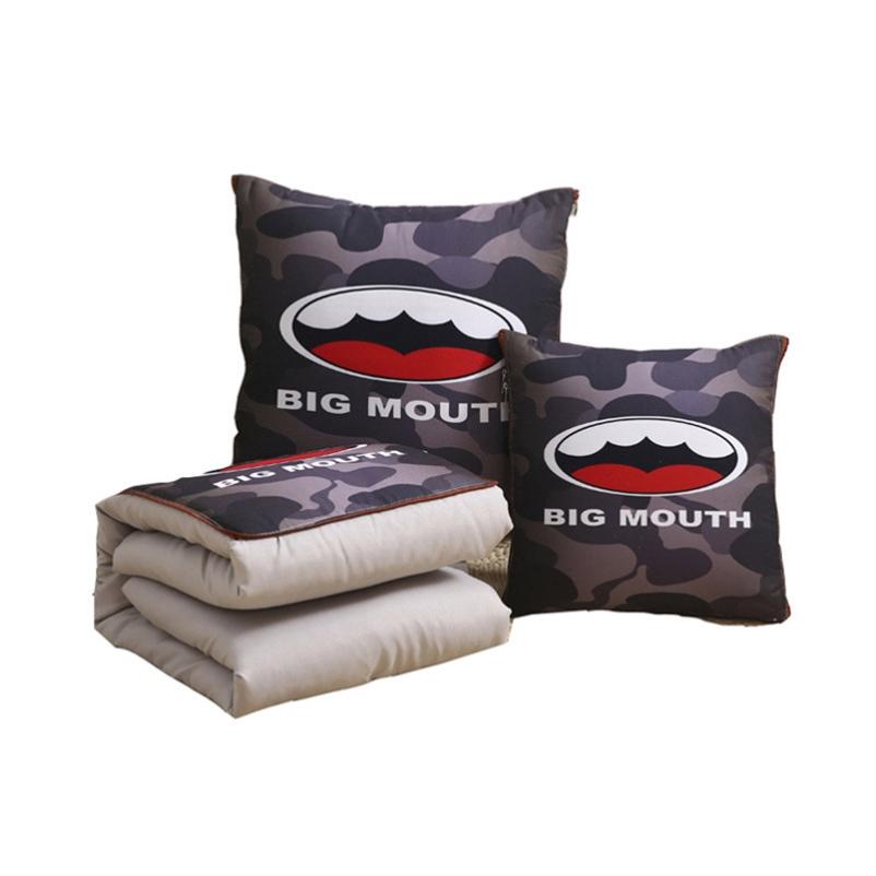 两用旅行纯棉午睡抱枕被子一对拍2折叠靠垫卡通汽车两用红多功能