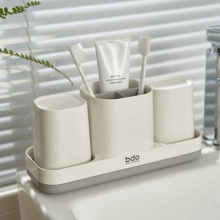牙刷盒家用牙杯牙具套装置物架洗漱台漱口牙膏杯卫生间免打孔收纳