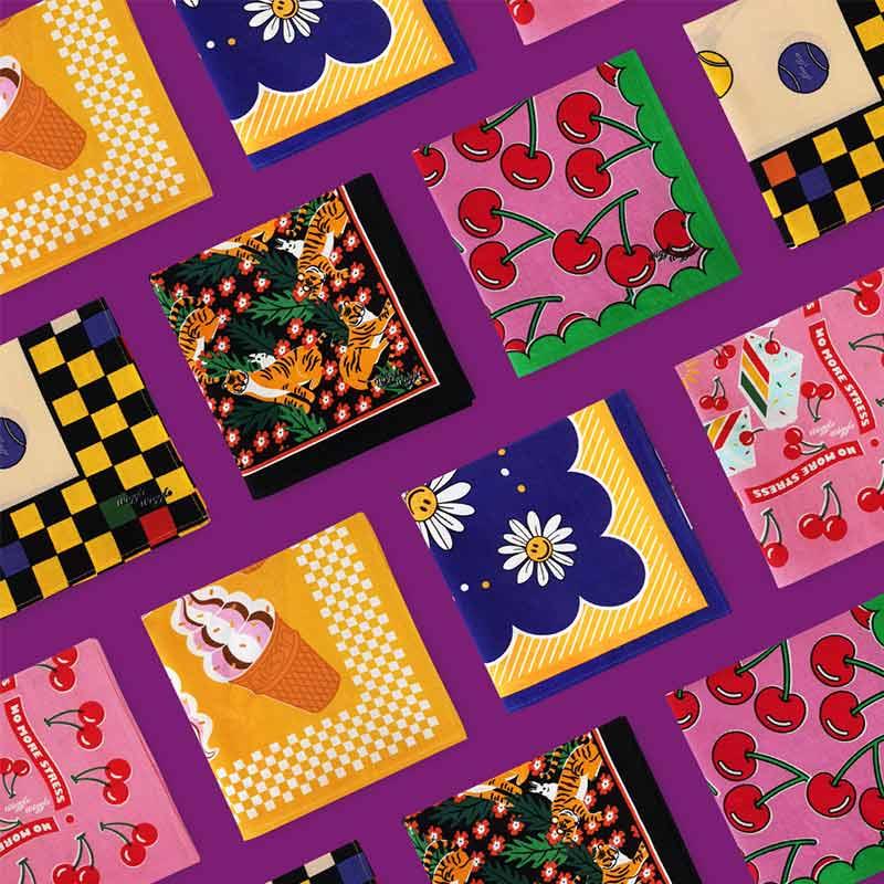 wiggle wiggle多功能实用方巾韩版野餐巾手帕头巾发带纯棉女围巾