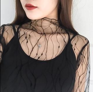透视韩版夏装蕾丝内衬打底衫百搭网纱休闲夏季防晒花边女袖子小衫