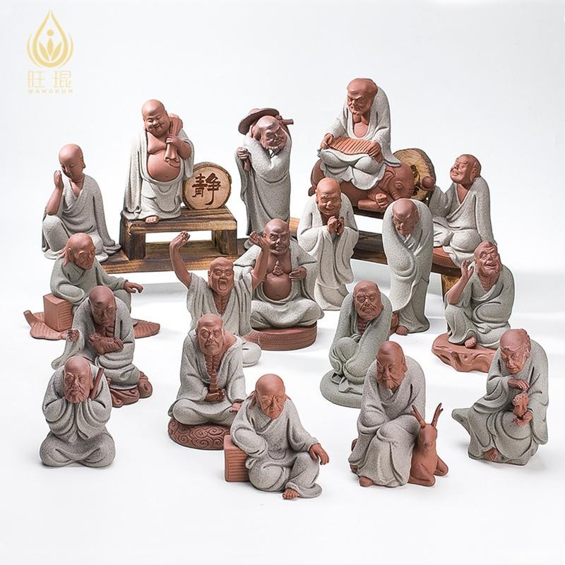 旺琨陶瓷18十八罗汉佛像降龙伏虎尊者紫砂小和尚客厅人物风水摆件