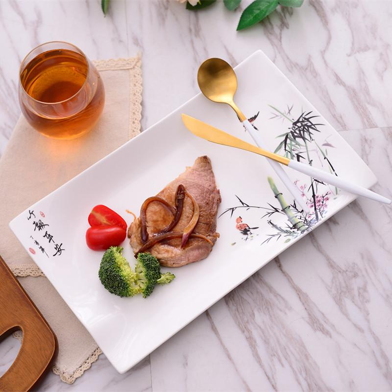 中国风特色餐厅陶瓷餐具西餐盘子