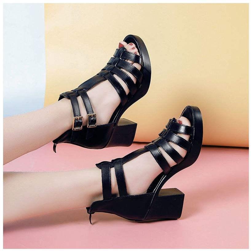 正品【优质软皮】罗马女凉鞋2020中跟粗跟凉鞋女夏季高跟露趾妈妈