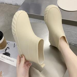 日系加绒时尚短筒保暖低帮防滑水靴
