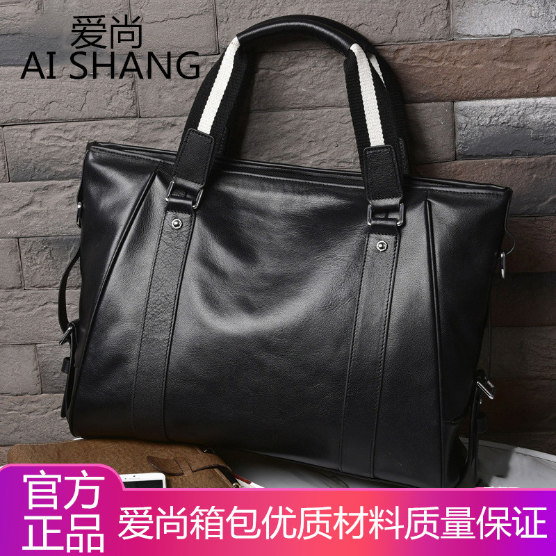 Boss manager handbag mens leather business briefcase business trip Leather Mens bag British Fashion Computer Bag