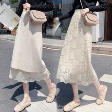 蕾丝半身裙女2020春季新款中长款高腰a字包臀裙两面穿针织一步裙