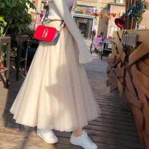 2020春季新款时尚网纱裙半身裙中长款蓬蓬裙女裙韩版百搭高腰裙潮