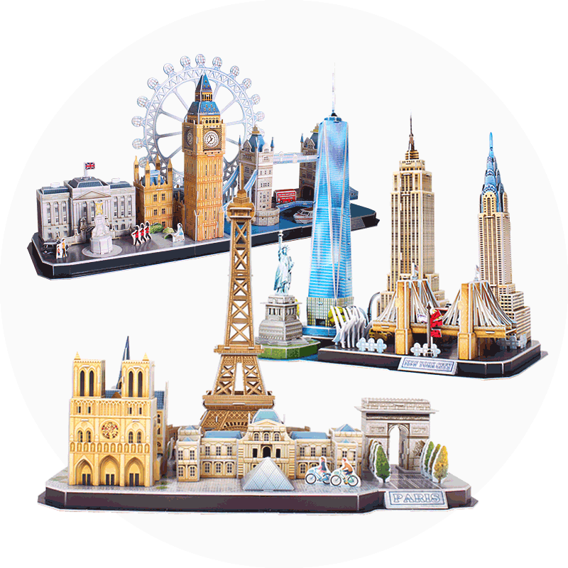 Le Cube City stereoscopic puzzle toy building 3D model urban Ferris wheel high-rise building gift