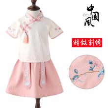 中国风童装小女孩民国风演出唐装女童改良汉服套装秋儿童古装汉服