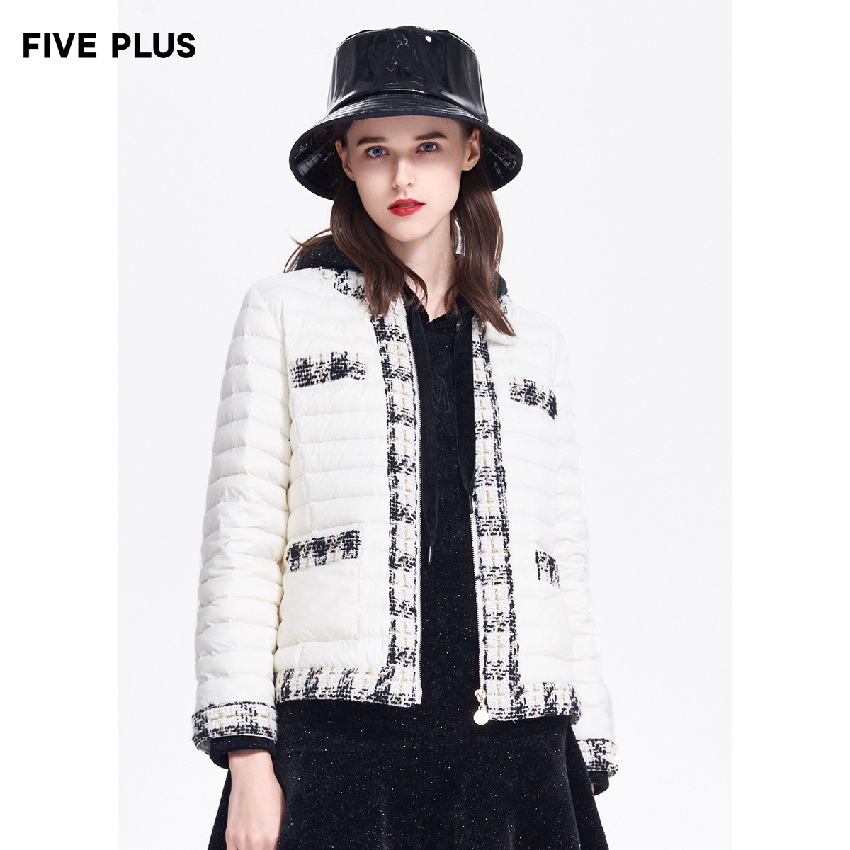 FIVE PLUS new female winter long-sleeved short down jacket jacket female stitching plaid jacket thin style
