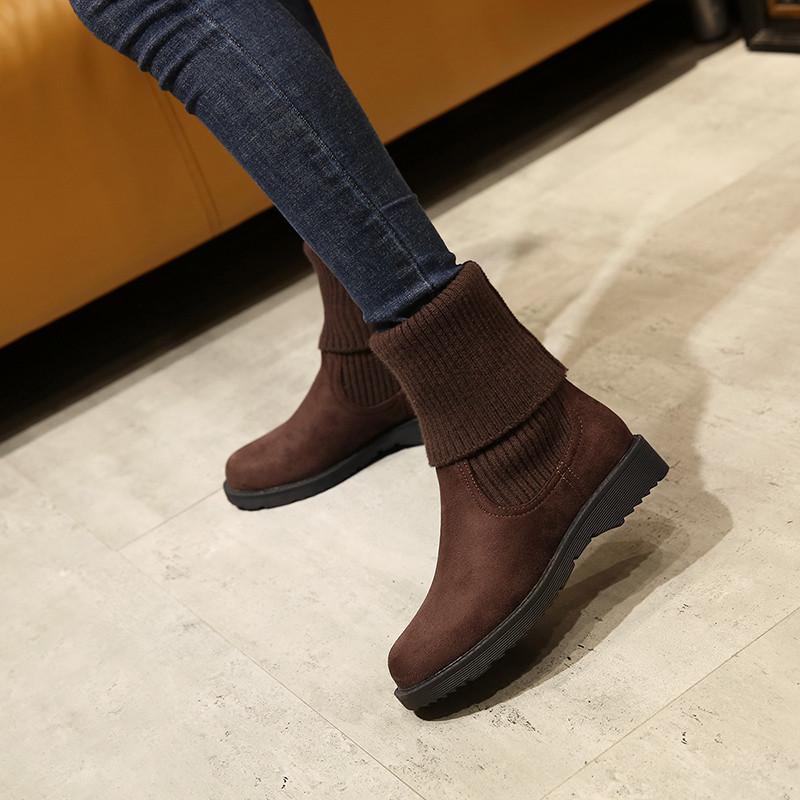 2019新款女鞋冬靴平底短靴一脚蹬毛线口女靴子中筒冬季加绒雪地靴