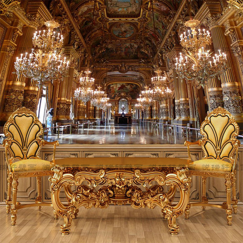 European style Paris Palace Versailles Palace space extension resplendent palace interior elegant art custom mural