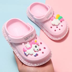 夏季儿童洞洞鞋女童可爱室内男宝宝沙滩鞋防滑软底小孩包头凉拖鞋