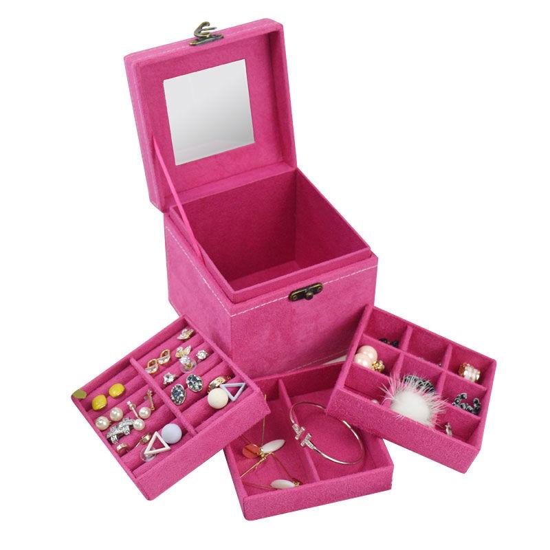 可爱饰品收纳盒欧式木质绒布创意精美礼物收首饰纳盒珠宝箱