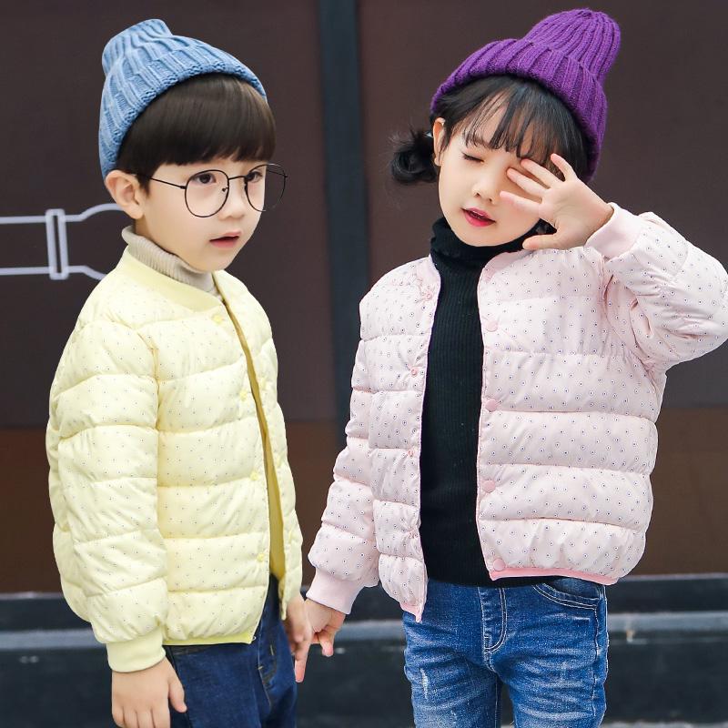 秋冬款宝宝短款棉衣轻薄款男童棉袄女童圆点内胆可爱百搭外套时尚