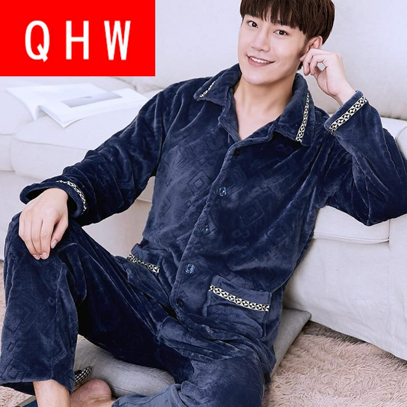 Autumn boys and middle school students increase size thin velvet loose coral velvet pajamas for men fattening autumn winter thin men
