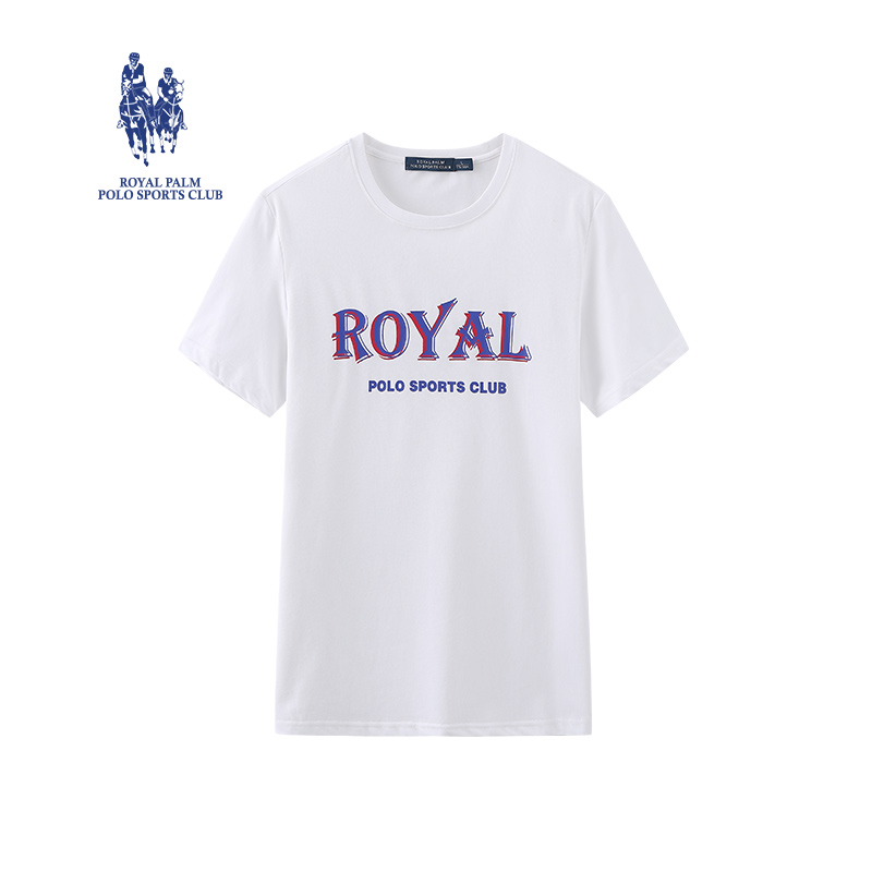 Royal Palm Polo Club short sleeve t-shirt mens American casual round neck loose bottomed top home mens wear