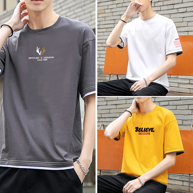 100% cotton short sleeve t-shirt mens new summer T-shirt Hong Kong fashion brand half sleeve youth trend all over mens wear