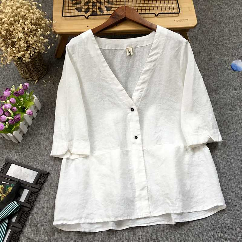 New artistic cotton hemp casual small coat womens five sleeve shirt stitching Ruffle hem V-neck top cardigan