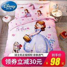 迪士尼儿童四件套公主风磨毛床单被罩卡通女孩单人床上用品三件套