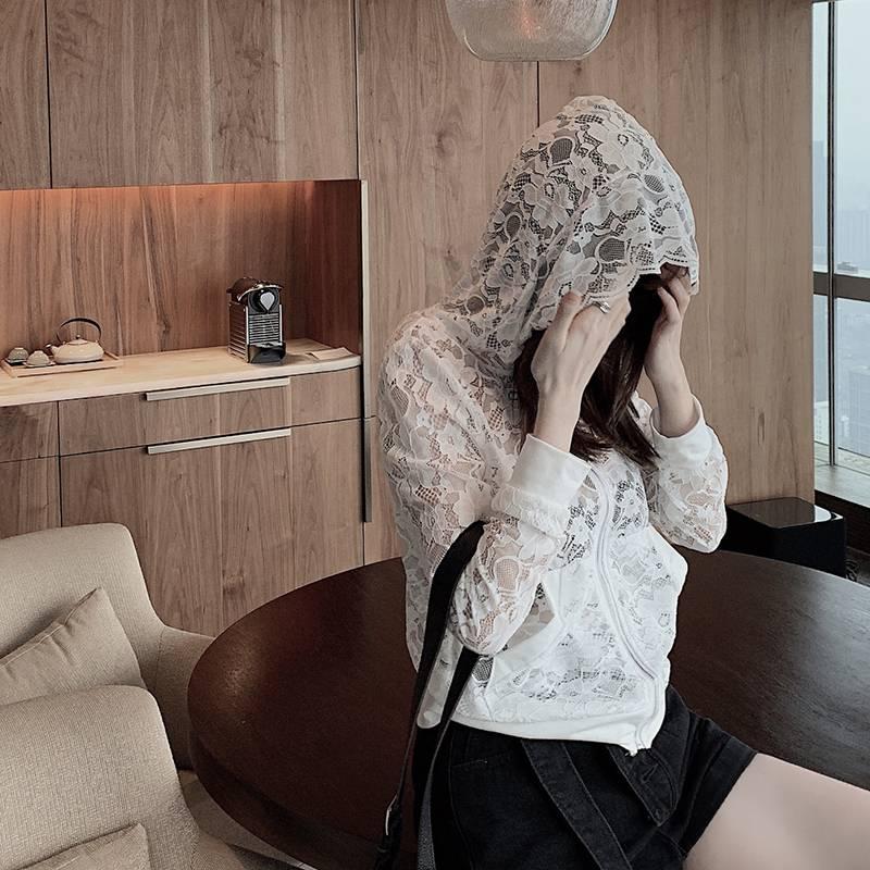 春装2020新款潮衣连帽短外套薄款蕾丝上衣外搭初秋女轻熟开衫