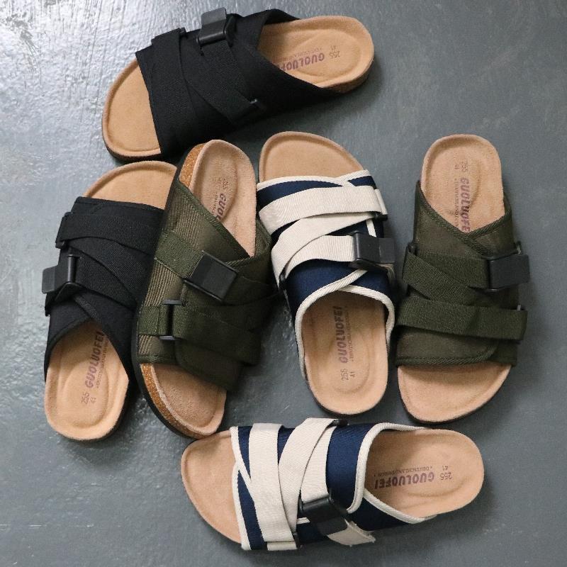 好版型街头潮流日系原宿风复古软木个性男士半拖运动凉鞋拖鞋个性
