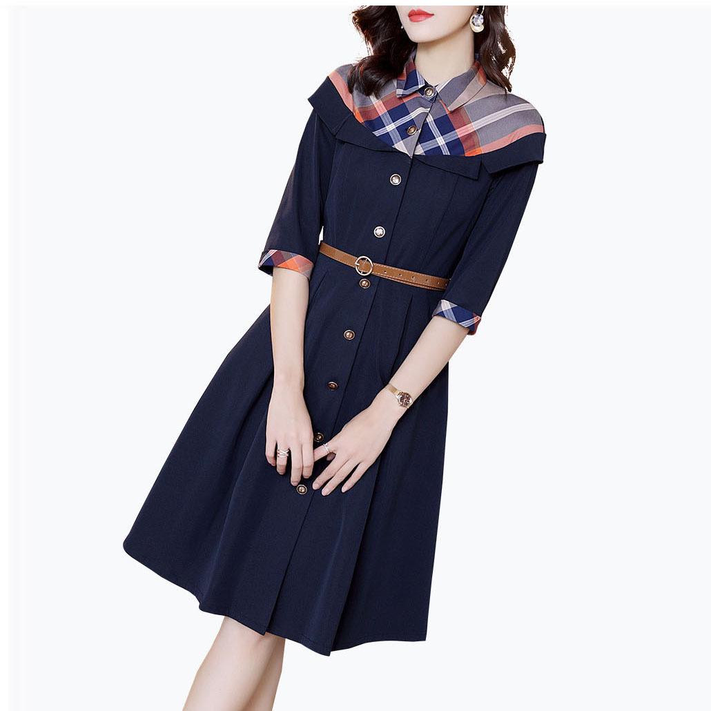 厂家直销通勤衬衫拼接连衣裙女 春装新年新款时尚精品气质a字裙