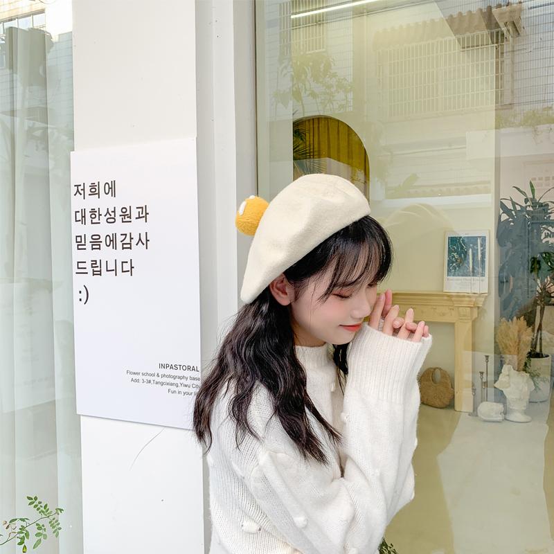 日系カシミヤかわいいベレー帽の女性の目玉焼きは手作りの羊の毛のフェルトの画家のカボチャの帽子の秋冬の新型です。