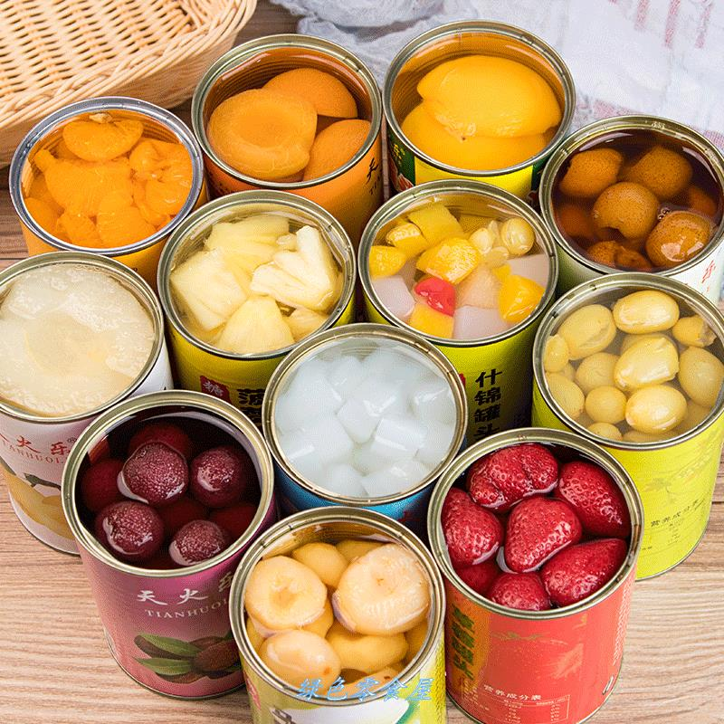 Mixed 5 / 6 cans fresh canned yellow peach, pear, orange, mixed bayberry, pineapple and coconut