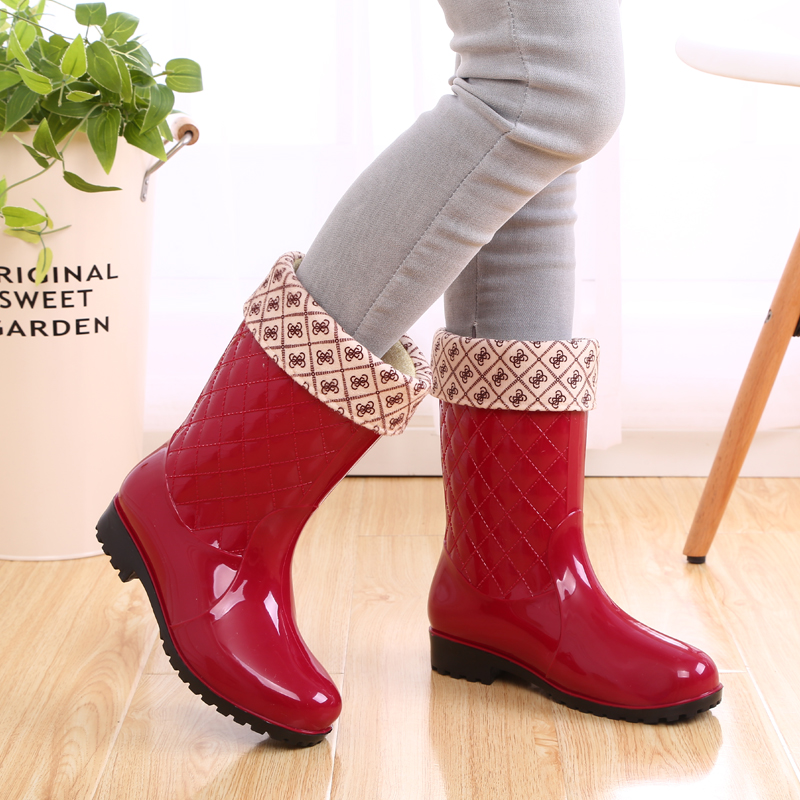 waterproof shoes for washing clothes to wear warm thick rubber boots rain boots women winter plus velvet