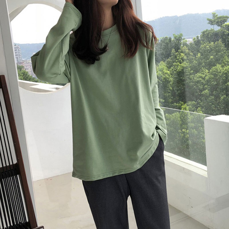 Hong Kong style leisure long sleeve T-shirt early autumn 2020 Korean womens T-shirt